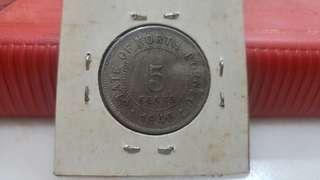 1940 state of north borneo 5 cents