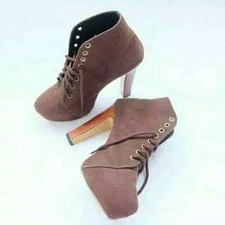 Velvet High Heels Boots