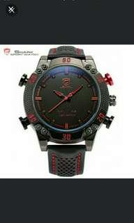 🚚 🆕🆒Kitefin Shark Sport Watch Luxury Brand Sport Watches Men Relogio Dual Time Alarm Leather Strap Military Digital Watch / SH261 ✔Great Birthday/Special Ocassion Gift Idea 🎁🎆🎂