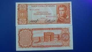 玻利維亞1962年50比索,(美國人稱他們紅番) 全新