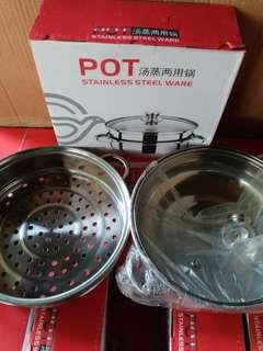 1 SET POT STAINLESS STEEL WARE 28cm