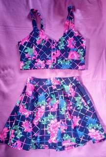 Matching floral crop top and skirt (terno)