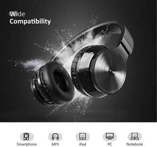 (E647) Bluetooth Headphones, VicTsing Wireless Foldable Over-Ear Hi-Fi Stereo Headset With Noise Cancelling Microphone, Supports Hands-Free Calling and Wired Mode for PC/Cell Phones/TV - Black