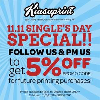 11.11 Printing Special!! Print or customise anything from Name Cards, Self Ink Stamp, Poster, Flyers