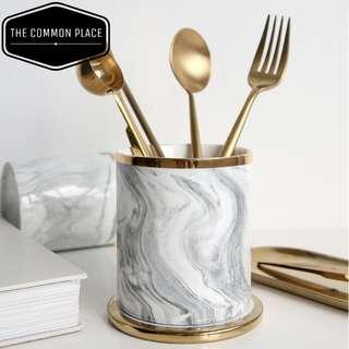 INSTOCK Nordic Grey Marble Print & Gold Ceramic Cup Holder