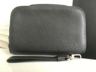 LV Black Taiga Clutch Bag