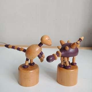 Vintage Wooden Thumb Push Puppets - Dinosaur