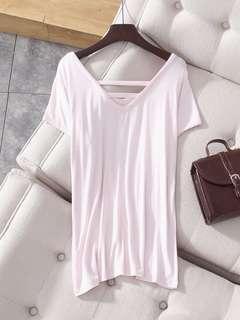🚚 全新🇺🇸嫩粉色質感莫代爾棉短袖S號