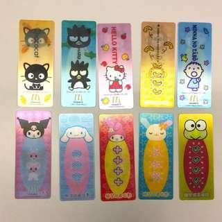 Sanrio x McDonald's 2007 幻彩許願卡/書籤 (Hello Kitty, XO, Cinnamoroll, Keroppi, Melody, Kuromi, usahana, monkichi, chococat, 大口仔)