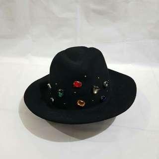 Bejewelled Black Fedora Hat
