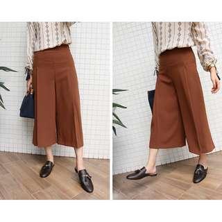 🚚 *全新轉賣*SHIN 韓國連線 復古秋冬色系摺線雪紡褲裙 寬褲 咖啡M號