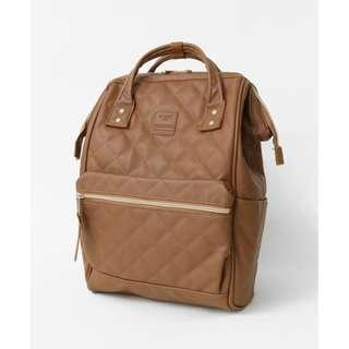 【New Arrival】 Anello Synthetic Leather Quilting Mouthpiece Backpack (Camel) - AH-B3001 | 100% Authentic #anello #leather #backpack #authentic