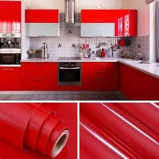 Kitchen Wallpaper Roll Cabinet Decor SOLID GLOSSY RED