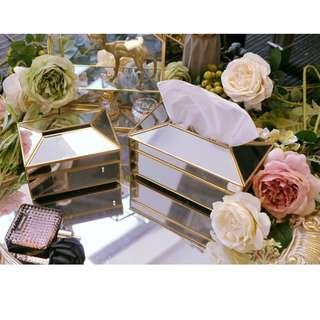 Elegant Mirror Tissue Box, 高貴金屬邊鏡面紙巾盒