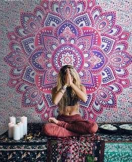 #22: Pink Yoga Lotus QUEEN SIZE Mandala Tapestry