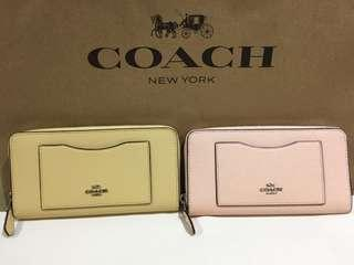 AUTHENTIC COACH Yellow & Pink/Blush Single Silver Zip Wallet