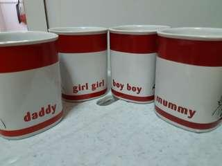 Happy Family Mugs 6pcs (fast sale all $18)