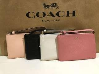 AUTHENTIC COACH Small Leather Wristlet (White, Blush, Pink, Black)