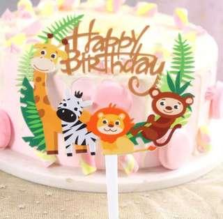 (1/11)  Free normal mail -Happy Birthday Safari Animals Jungle theme cake topper