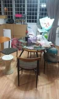 Dining Table thick glass set with matching chairs