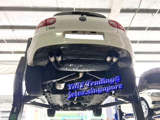 #jetexexhausts_vw. #jetexexhaustsasialink. With this Golf Mk5 GTI at this time and coming in the house to upgrade Jetex LTA approval 3 inch quad tip catback system.   Owner has renewed another 10 years COE to put the car back to the road.