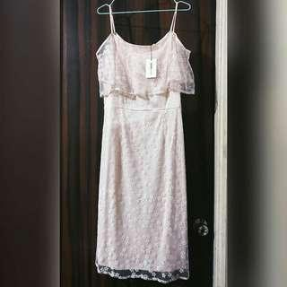 GTW Party Baby Pink Lace Off-Shoulder Dress