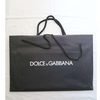 Dolce & Gabbana black medium large size shopping bag 購物紙袋