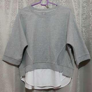 BAYO blouse loose gray grey women top korean style