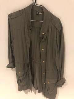 H&M drawstring khaki jacket