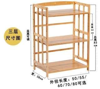 三層打印機/文件實木架 現貨1個:70x38x83cm. 包送貨