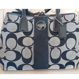 Coach kiss lock canvas leather trim black grey handbag tote bag