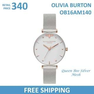 Olivia Burton Ladies Watch Queen Bee Silver Mesh OB16AM140