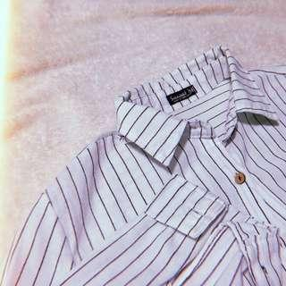 Striped Semi Cropped Polo