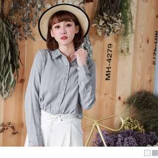 灰藍色高含棉刺繡點點花樣壓紋襯衫
