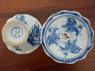 Blue and white vintage chinese porcelain compote offering plates