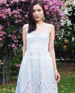 Lace and Ebony Tresine Crochet Midi Dress (Lavender)