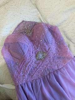 Custom-made lavender gown with intricate beading