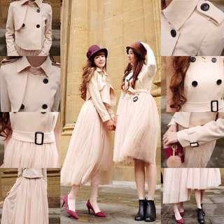 🚚 Suiza 林鴒 法式優雅排釦風衣+背心洋裝(套組M號)