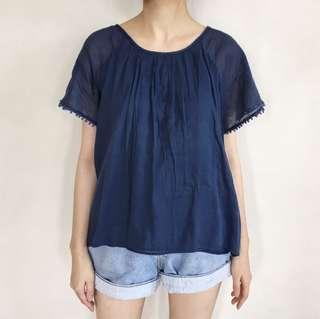 Dark Blue Cotton Top