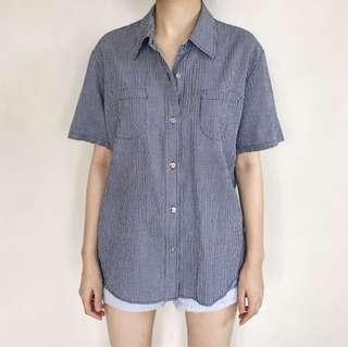 Textured Navy Plaid Shirt