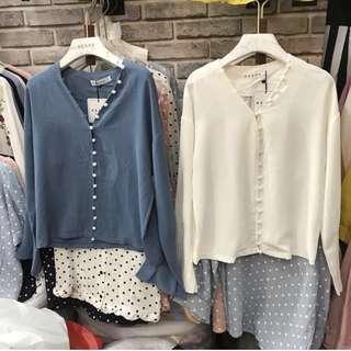 Blue & white buttons shirt
