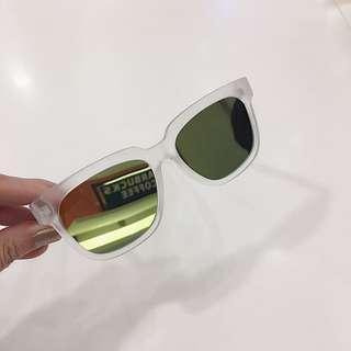 🚚 二手近新❤️透明鏡框👓黃色反光方框墨鏡