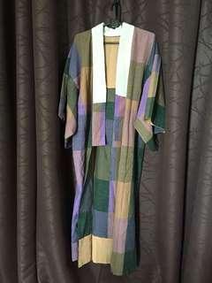 Long Vintage Colorblock Kimono Jacket / Dress
