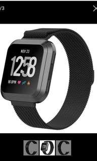 Fitbit versa with black milanese band and screen protector