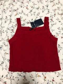 Brandy melville red square halter knit crop top
