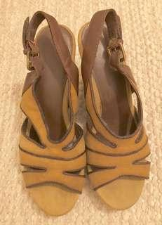 REPRICED Canvas Tan Sling Back Wedges