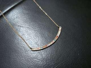 Colourful Rainbow Dainty Rose Gold Necklace #OCT10