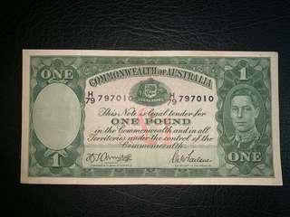 1941年澳洲1鎊男人頭九品少有罕品
