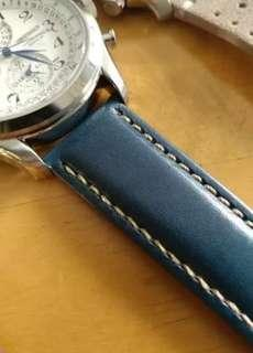 Premium 22mm classic leather Watch strap blue free postage