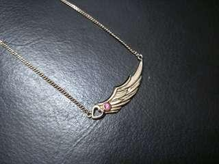Wing Pink Heart Rose Gold Necklace #OCT10